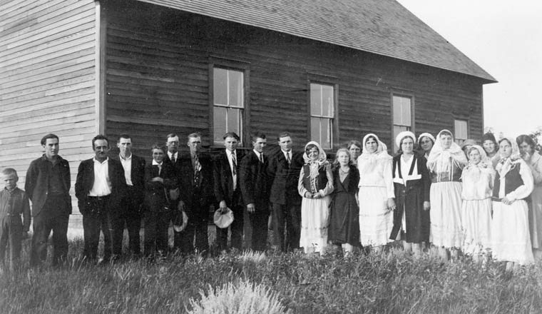 Group of young Doukhobors, Independent Harilowka district in Blaine Lake, Saskatchewan. (item 1)