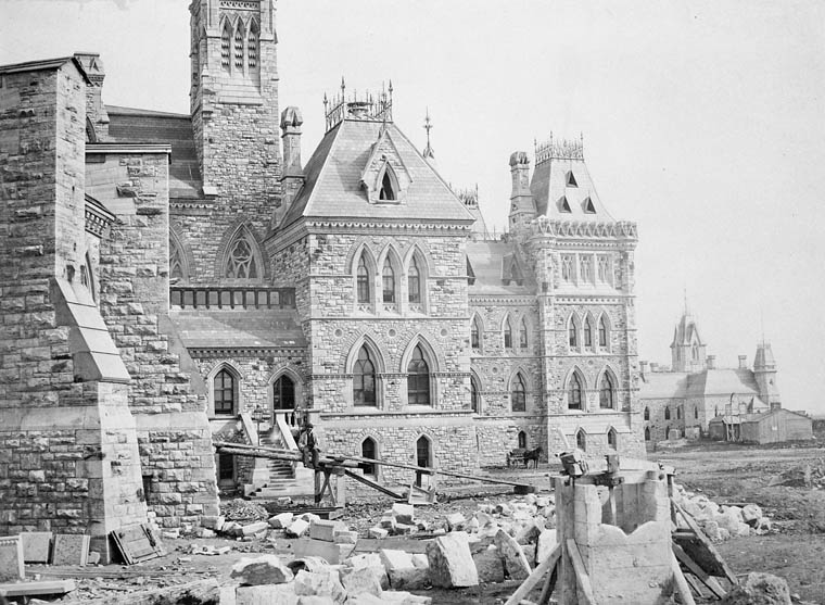 Parliament Buildings - construction. Centre Block showing north-west section and the buttresses of the Library. (item 1)