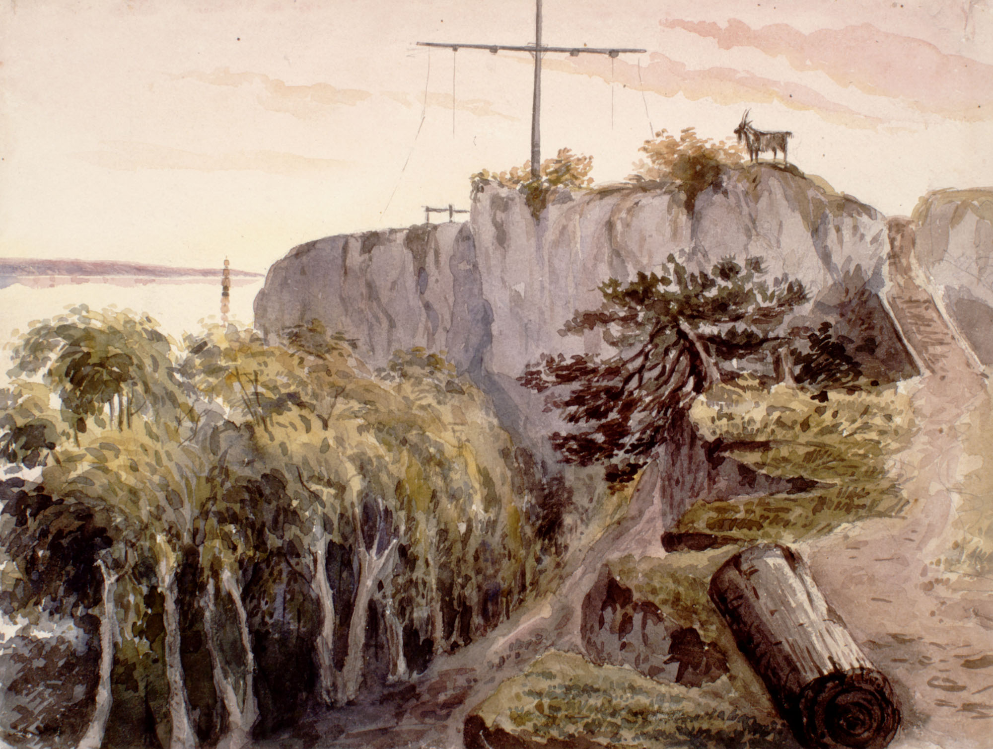 Watercolour of a telegraph mast and a goat on top of a rocky and wooded hill