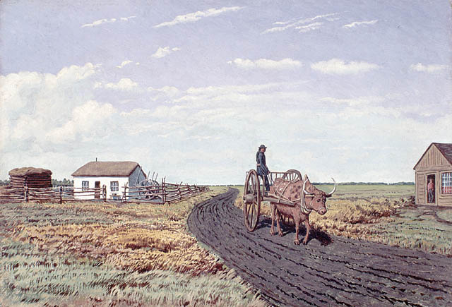Oil on academy board of a man on a two-wheeled cart being pulled by an ox down a dirt road between a house surrounded by a fence and another house on the right.