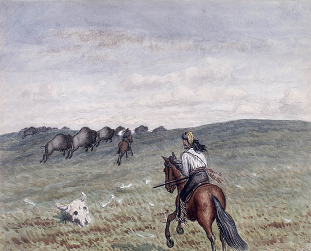 Watercolour over pencil and gouache on paper of a Métis man on horseback riding over the plains toward a herd of buffalo in the distance. A buffalo skull lies in the grass in the foreground.
