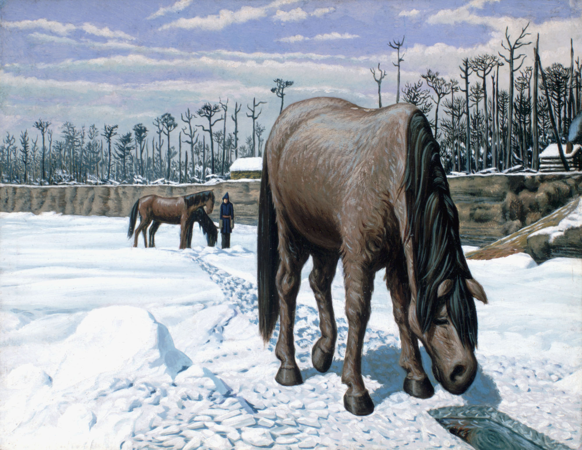 Colour oil on canvas of a horse standing on a frozen river leaning down to drink from a hole in the ice while another two  horses and a man stand in the background, with houses surrounded by trees lining the right side of the composition.