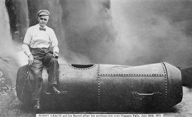 Bobby Leach and his barrel after his perilous trip over Niagara Falls, Ontario. (item 1)