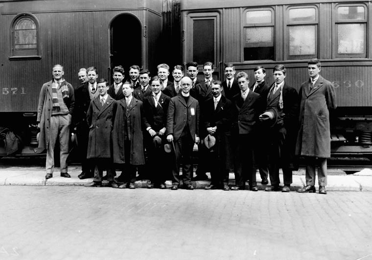 Church Army party of youths from Winnipeg bound for farms. c 1920s