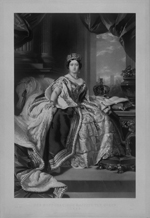 Black and white engraving of a young Queen Victoria