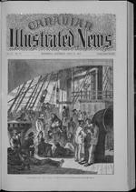 Black and white newspaper sketch of people lounging on the deck of a ship