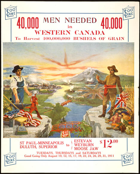 40000 Men Needed in Western Canada. Poster to encourage American immigration. (item 1)