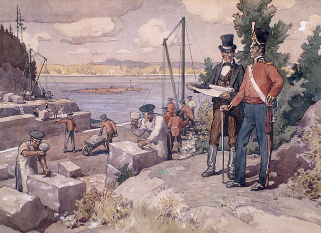 Le colonel By surveillant la construction du canal Rideau, 1826,. (item 1)
