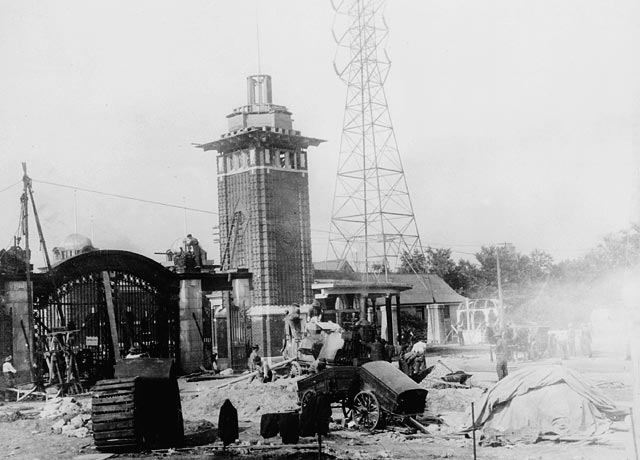 Historic photo from 1912 - Construction work, Main Gates, Canadian National Exhibition. in CNE