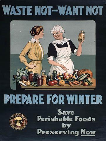 Affiche de la Commission canadienne du ravitaillement incitant les femmes à faire des conserves : « N'en gaspillez pas, n'en manquez pas – prévoyez pour l'hiver », vers 1914-1918. Source : C-095282