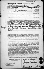 Memorandum of Agreement, Joseph Bowles, Manitoba, 1892