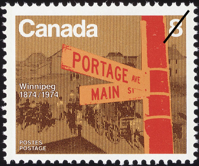 White 8-cent stamp with a colour illustration of a street corner sign where Portage Avenue intersects Main Street