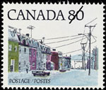 White 80-cent stamp with a colour illustration of a street lined with row�houses and lampposts