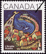 White 17-cent stamp with a colour illustration of a seaside village
