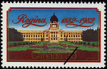 White 30-cent stamp with a colour illustration of a large building with a formal garden