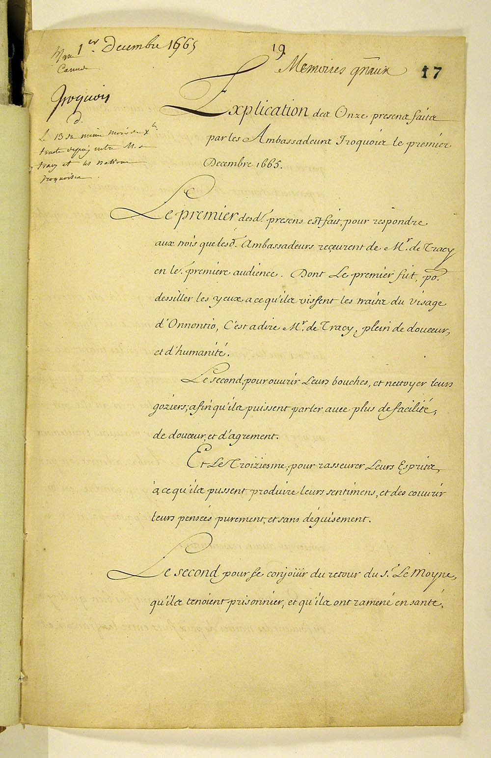 Explication des onze presens faits par les Ambassadeurs Iroquois [Explanation of the eleven gifts presented by the Iroquois Ambassadors], December 1, 1665. FR CAOM COL F3 2 fol. 17-20