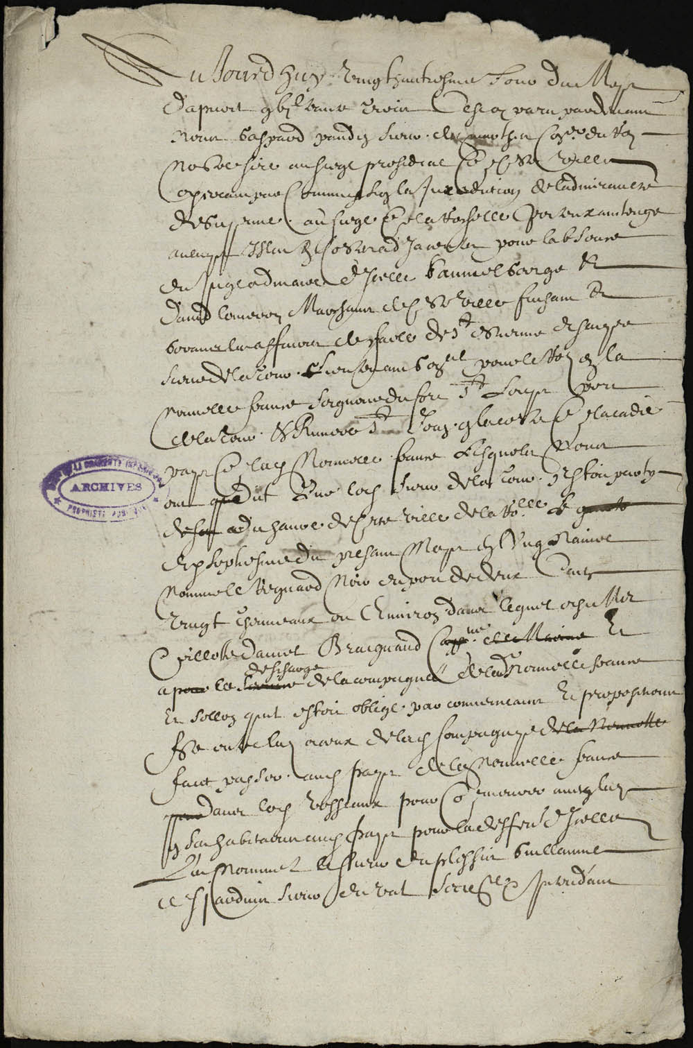 Declaration to the admiralty of La Rochelle, made by David Lomeron and Samuel Georges, merchants, about the passengers on the ship Renard-Noir who embarked for Acadia, among them two native savages, Quichetech and Nenougy, April 28, 1633. FR AD17 B 5654