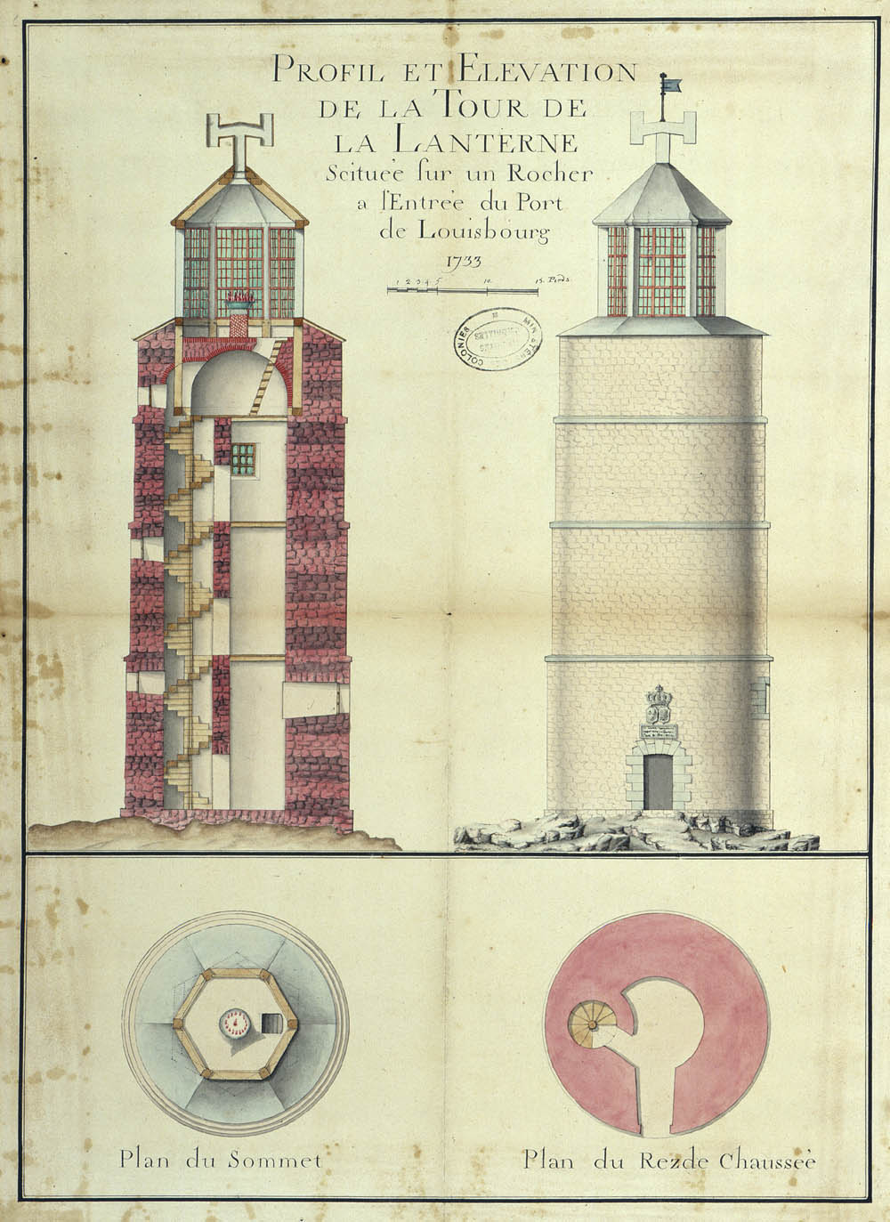 Louisbourg Lighthouse, 1733 FR CAOM COL C11B 39 110