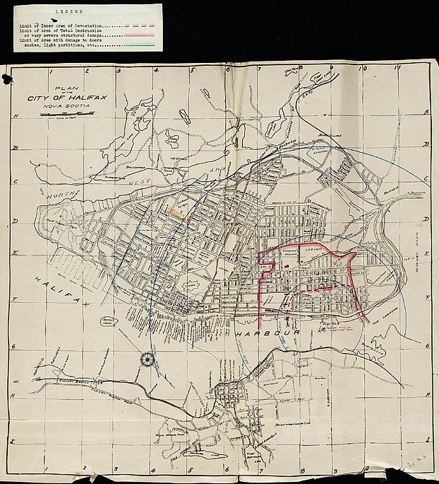 Map of Halifax explosion.