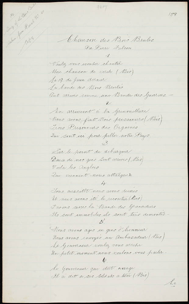 Two off-white lined pages with the French lyrics of a ballad handwritten in black ink down the centre of the pages.