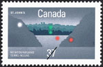 White 37-cent stamp with a colour illustration of an outline of a harbour and a city skyline