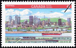 White 42-cent stamp with a colour illustration of a large hill, a city skyline, waterways, and subway trains