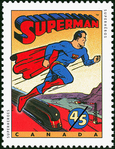 Superman, 45-cent stamp issued on October 2, 1995, Canada Post Corporation.