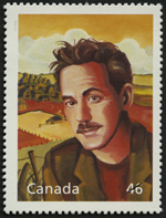 White 46-cent stamp with a colour illustration of a man with a prairie landscape in the background