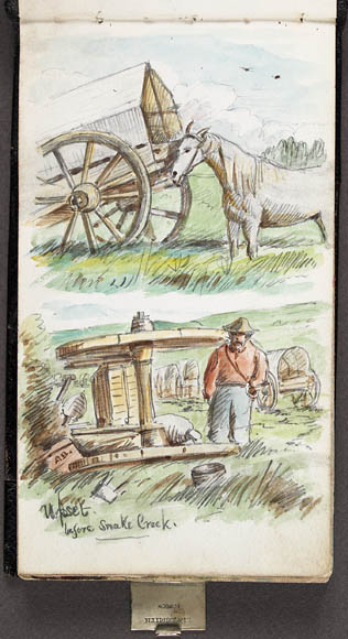 Watercolour over pencil on paper in a sketchbook depicting two separate scenes. The top painting shows a white horse standing behind a Red River Cart in a grassy clearing, while the painting below depicts a man standing next to a Red River Cart that has fallen onto its side.