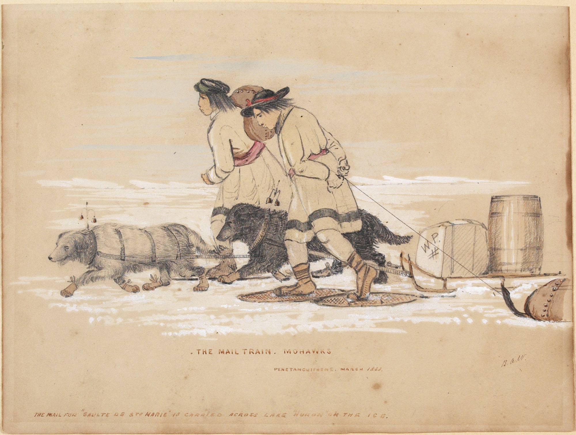 Pencil, watercolour and gouache on wove paper of two dogs and two figures snowshoeing over ice while pulling  sleds loaded with barrels.