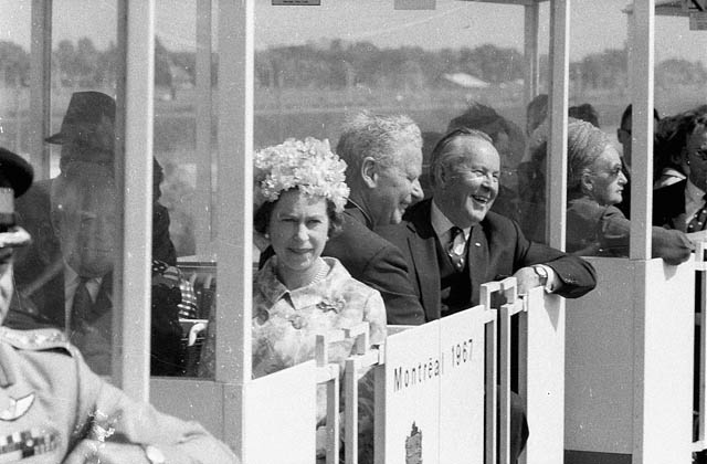 Her Majesty Queen Elizabeth II and Prime Minister of Canada Lester B. Pearson in the minirail at Expo 67. (item 1)