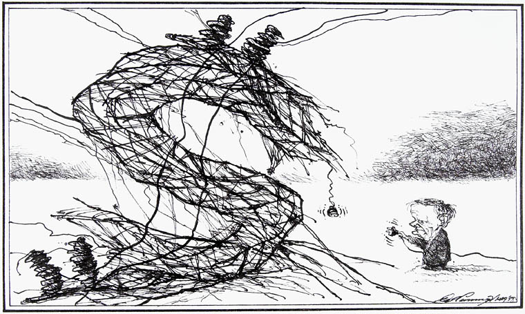 Cartoon by Dale Cummings, showing Jean Chrétien, the Prime Minister of Canada at the time of the ice storm, trying to restore power after a hydro tower has collapsed under the weight of the ice.