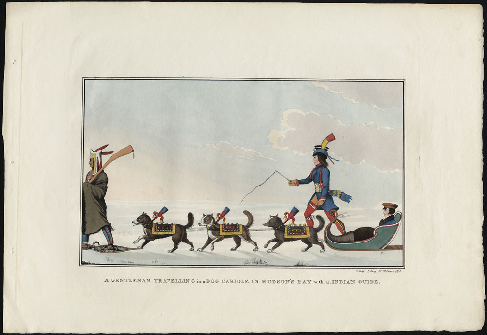 A Gentleman Travelling in a Dog Cariole in Hudson's Bay with an Indian Guide