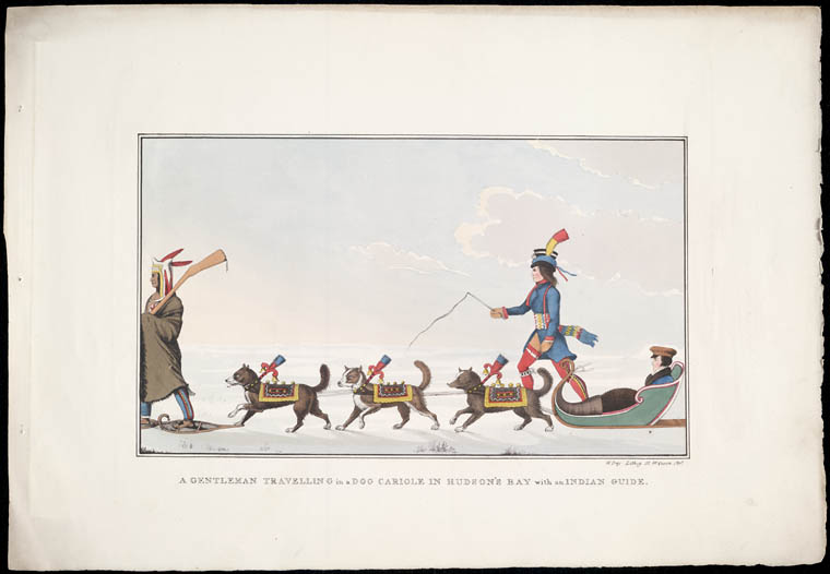 Colour lithograph print of a man seated in a sled being pulled by three dogs, a second man dressed in a blue jacket with a sash is walking next to the sled, and a third man is walking on snowshoes in front of the three dogs.