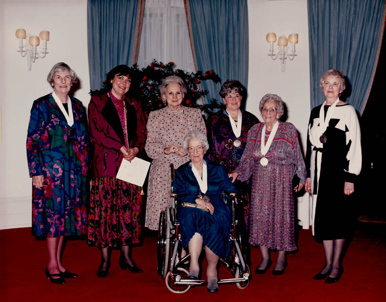 Group portrait of the recipients of the Governor General's award in 1986 commemorating the Persons Case. (item 1)