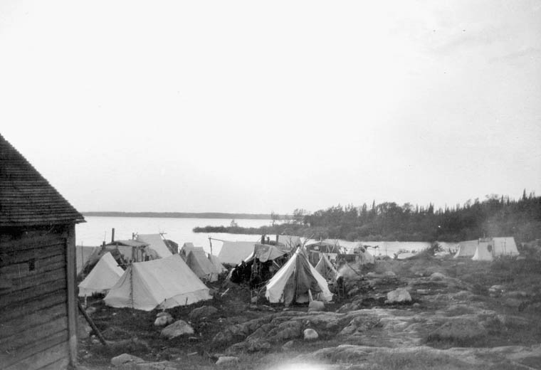 Camp of prisoner tents on shore of Spirit Lake. (item 1)