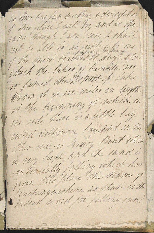 Diary (description of Penetanguishene area) (item 3)