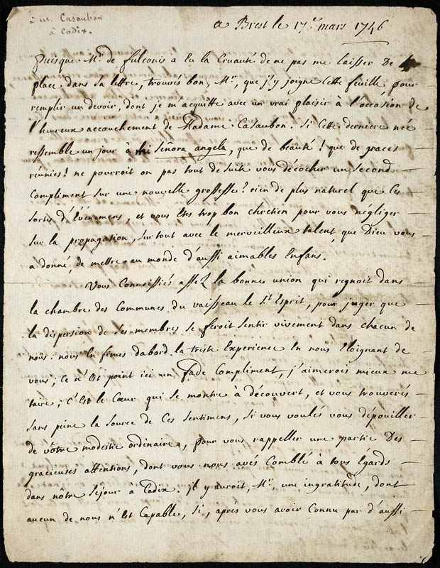 Journal de Faucher sous forme de lettres [document textuel]. (item 1)