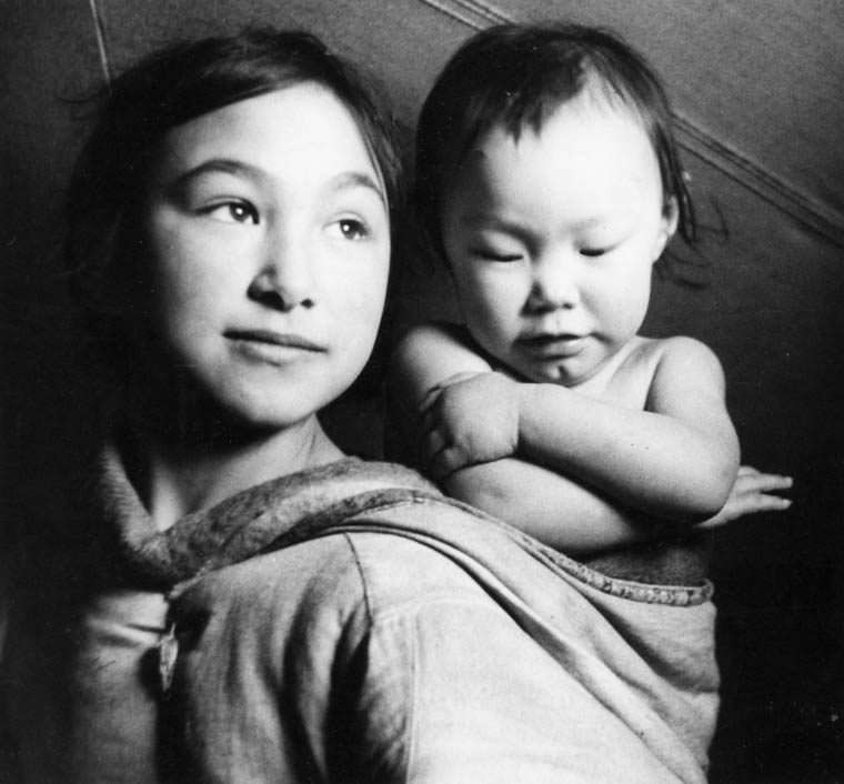 Bella Lyall-Wilcox (left) and Betty Lyall-Brewster, Taloyoak (formerly Spence Bay), Nunavut, by Studio Norman, Health and Welfare Canada.