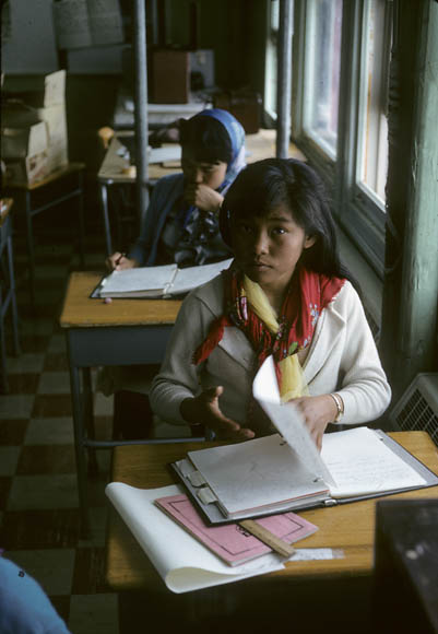 Igloolik (Iglulik) Federal Hostel, two girls working at their desks, May 1965