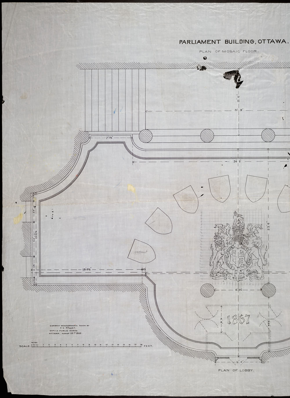 Old Centre Block, Parliament Buildings, Ottawa.  Plan of mosaic floor [inlobby]. (item 1)