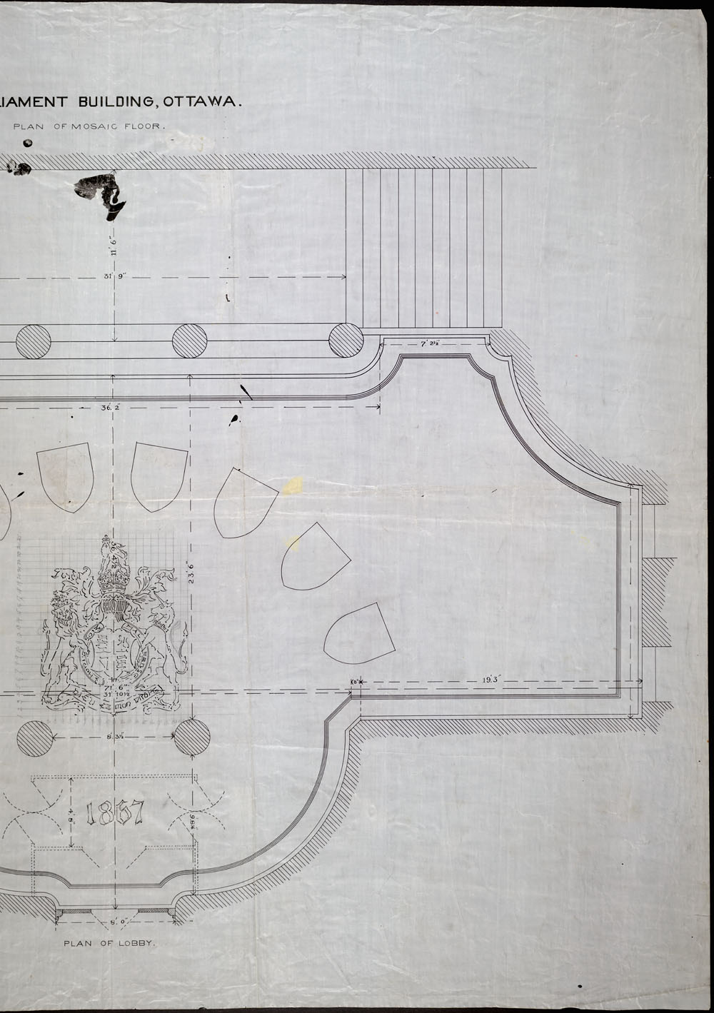 Old Centre Block, Parliament Buildings, Ottawa.  Plan of mosaic floor [inlobby]. (item 2)