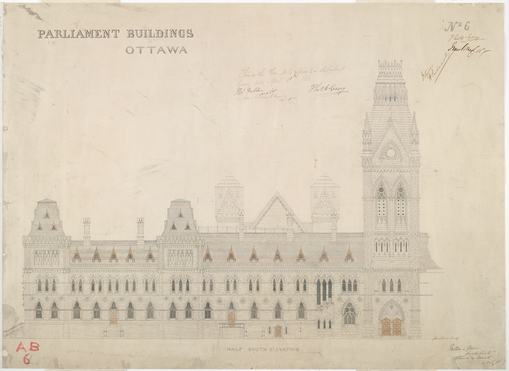 Old Centre Block, Parliament Buildings, Ottawa.  Half south elevation. / (item 1)