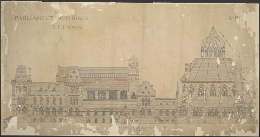 Old Centre Block, Parliament Buildings, Ottawa.  East and west elevation. / (item 1)