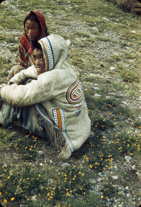 MIKAN 3839265 Inuit women sitting on flowering tundra, one wearing beaded amautik.