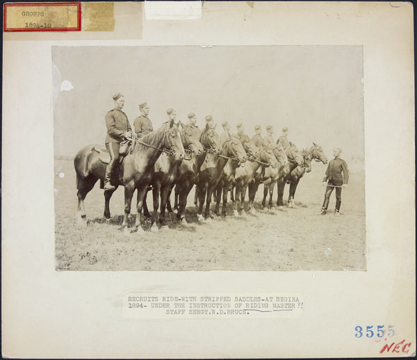 Recruits at Regina, under the instruction of Riding Master, Staff Sergeant William D. Bruce, 1894. (item 1)
