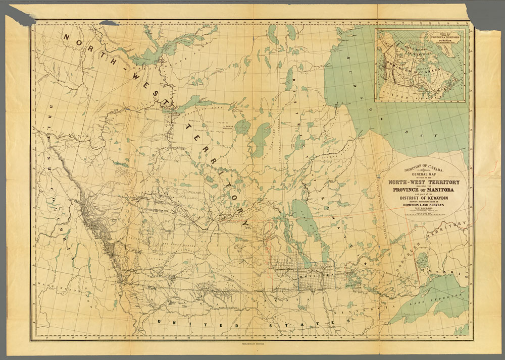 Beige- and blue-coloured map showing part of the North-West Territory and the province of Manitoba. The 1870 and 1881 boundaries of Manitoba have been added in pencil crayon.
