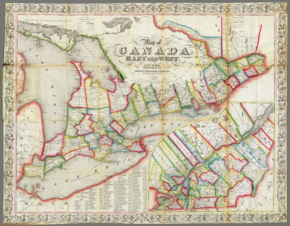 Map Of Canada East And Canada West Districts and Sub districts: Census of 1842, Canada West (Ontario