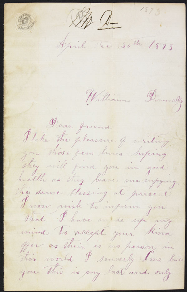 William Donnelly - Three Letters, 1873, from Margaret Thompson. (item 5)