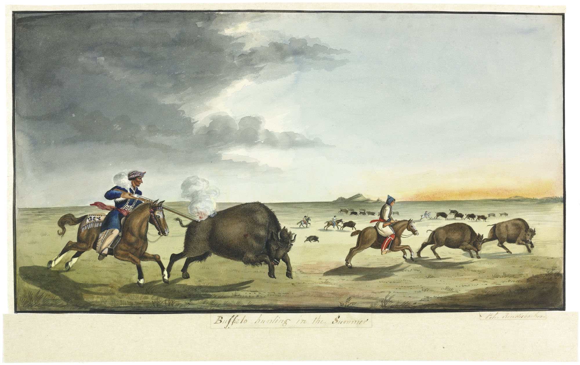 Watercolour, pen and ink on paper of a man on horseback firing a gun at a buffalo while, in the distance, other men on  horseback pursue buffalo on the plains.